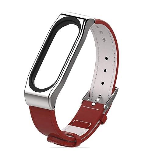 para Correa Xiaomi Mi Band 3,Banda de Reloj de Correa de Cuero de Mezclilla Deportiva Pulsera Brazalete Ajustable Reemplazo +Carcasa de Acero Inoxidable ...
