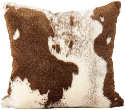 SARO LIFESTYLE Lait Collection Urban Faux Cowhide Poly Filled Floor Pillow, 28 , Brown