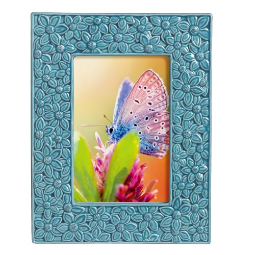 Grasslands Road Everyday Life Photo Frame, Turquoise Floral, 4 by 6-Inch