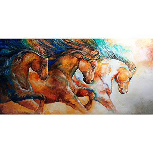 (Faicai Art Wild to Run Horses Paintings Canvas Prints Wall Art Colorful Impressionism Abstract Animal Wall Decor HD Printings for Modern Home Deoration Living Room Office Wooden Framed 24