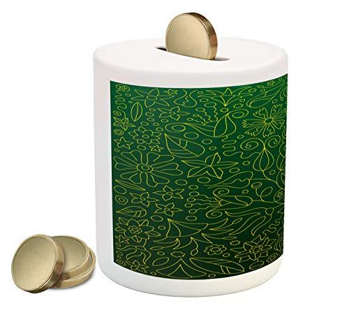 - Lunarable Hunter Green Piggy Bank, Shabby Chic Spring Florets Flower Petals Blossom Essence Flourish Natural, Printed Ceramic Coin Bank Money Box for Cash Saving, Hunter Green