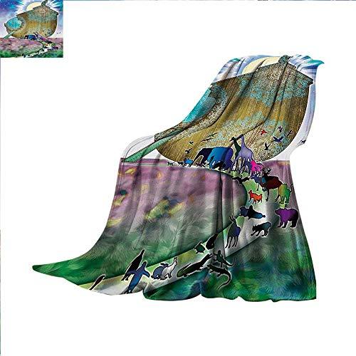 Ghillie Ultralight (Noahs Ark Warm Microfiber All Season Blanket Animals of The World Bible Story on Night Sea Mandala Patterns Religious Art Print Print Artwork Image 60 x 36 inch Multi)