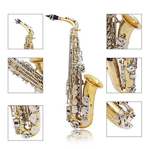 LADE WSS-865 Brass Alto Saxophone Silver Button with Accessories by SOUND HOUSE 49 (Image #1)