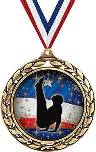ジムメダル – 2 1/2インチ 月桂樹リース メンズ 体操 パイクメダル – 子供のためのジム賞に最適