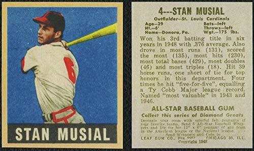 (STAN MUSIAL HOF 1949 Leaf #4 St. Louis Cardinals REPRINT - Baseball Card)