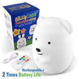SillyCone Soft Silicone Rechargeable LED Children's Night Light with Remote and Extended Life 2,000 mAh Battery and USB Cable for Charging (Bear)