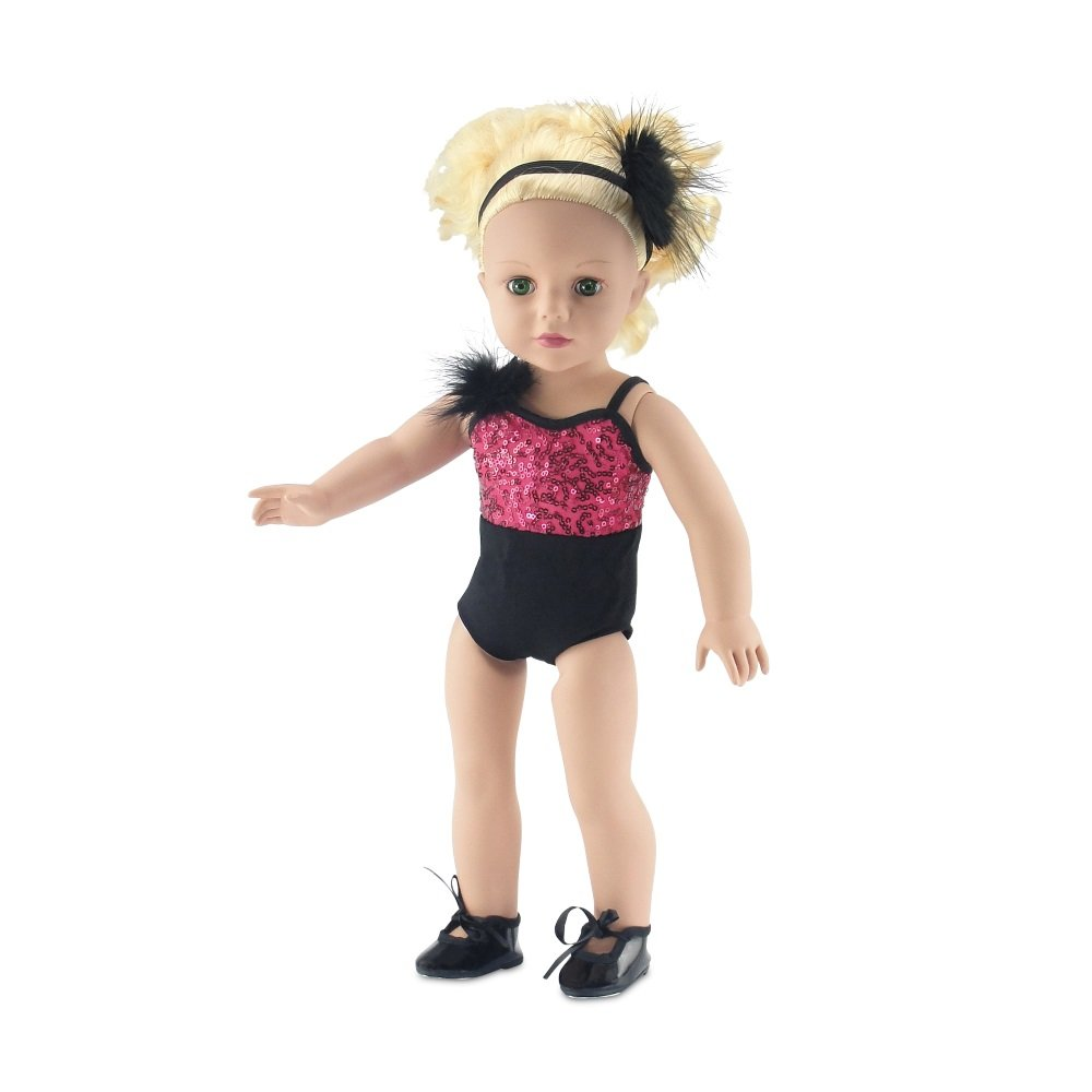 Includes Shimmery Beaded Leotard with Feather 18 Inch Doll Clothes Matching Headband and Black Tap Shoes Fits American Girl Dolls Emily Rose Doll Clothes Gorgeous Tutu Amazing Pink and Black Jazz Ballet Outfit