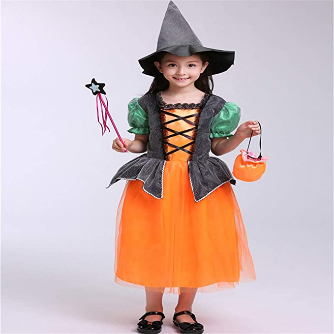ZGCO Ropa infantil de Halloween Disfraz de bruja Disfraz de niña ...