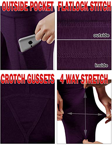 ODODOS Women's High Waist Yoga Capris with Pockets,Tummy Control,Workout Capris Running 4 Way Stretch Yoga Leggings with Pockets,DeepPurple,X-Small