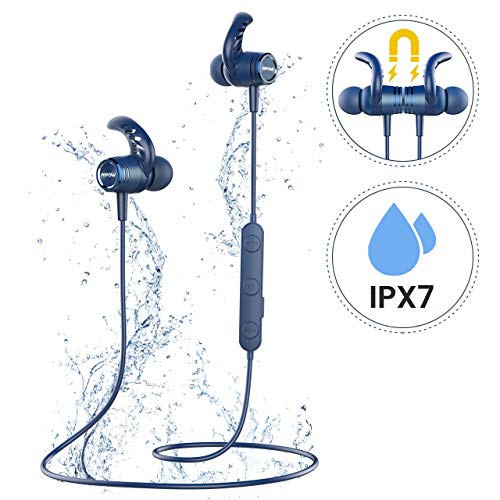 Bluetooth Headphones, Mpow S10 Bluetooth 5.0 Earbuds IPX7 Waterproof HiFi Stereo Sound 8-10Hrs Playtime Sports Headphones, Wireless Headphones in Ear Headphones W/CVC 6.0 Noise Cancelling Mic for Jogging, Running, Gym-Matte Blue