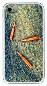iPhone 4S Case,Bullets on denim TPU Custom iPhone 4/4S Case Cover Whtie