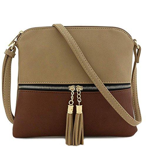 Lightweight Medium Crossbody Bag with Tassel (Khaki/Brown)