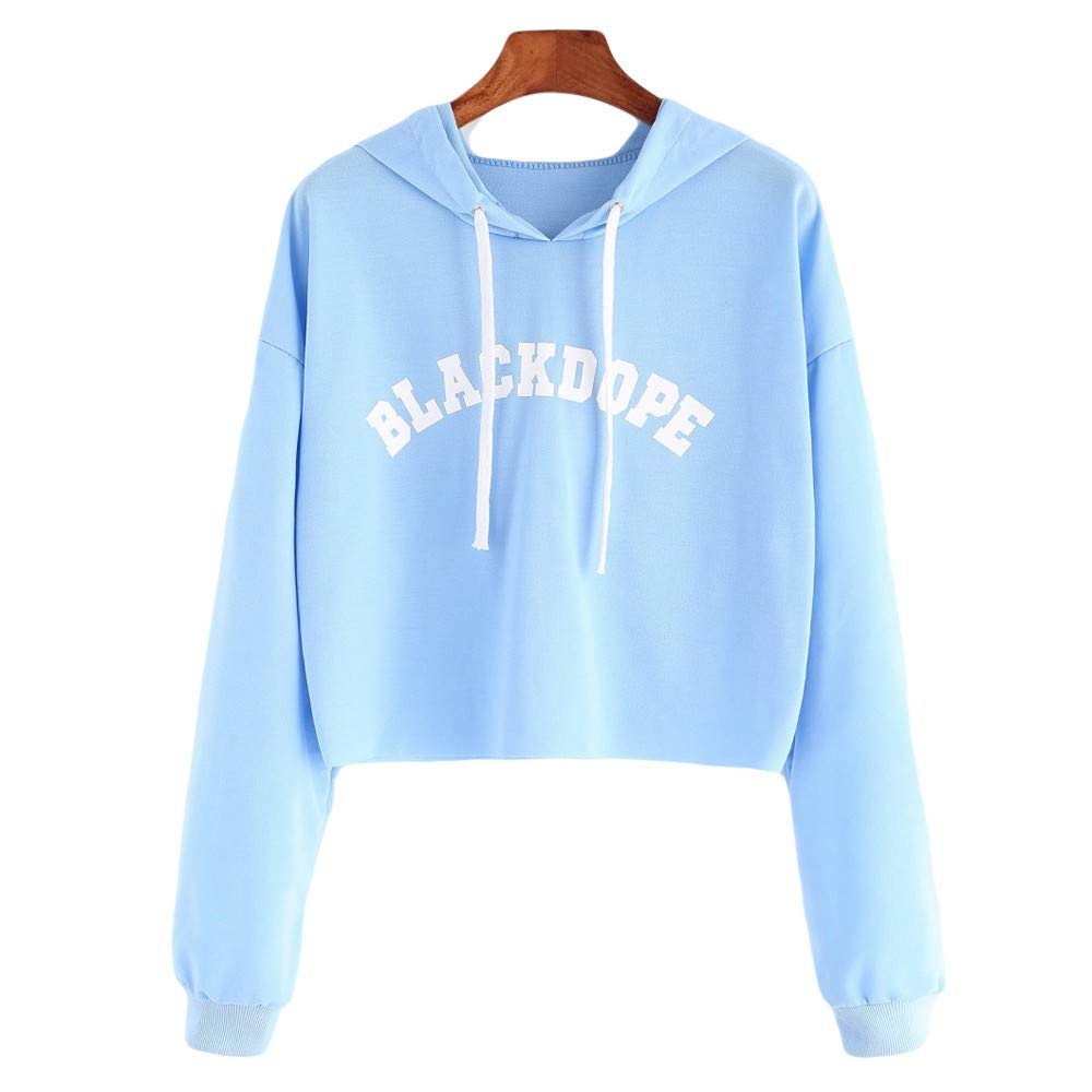 Anxinke Women Casual Letter Printed Long Sleeve Loose Pullover Cropped Hoodies at Amazon Womens Clothing store: