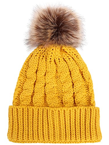 Women's Winter Soft Knitted Beanie Hat with Faux Fur Pom Pom,Ginger
