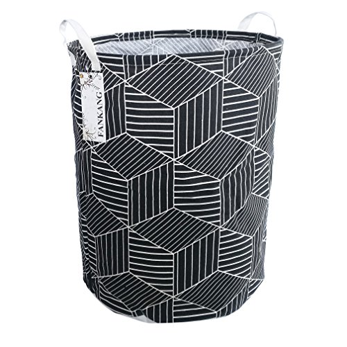 FANKANG Large Laundry Hamper Bag Storage Bin Collapsible Black Rhombus Deal (Large Image)