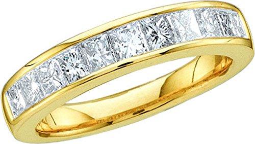 14k Yellow Gold Princess Cut Diamond Band Wedding Anniversary Ring 1.00 Cttw