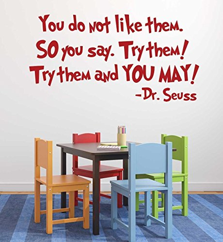 Dr Seuss Vinyl Wall Decals - Green Eggs and Ham Quote for Kids Room, Playroom, School Classroom Decor for Boys and Girls