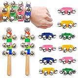 DomeStar Wrist Band Bells, 10PCS Multi-Clor Jingle Bells Musical Rhythm Toys with 2PCS Handle Wooden Bells for Kids Children School Party