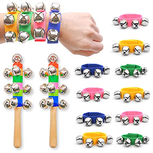 DomeStar Wrist Band Bells, 10PCS Multi-Clor Jingle Bells Musical Rhythm Toys with 2PCS Handle Wooden Bells for Kids Children School Party by DomeStar
