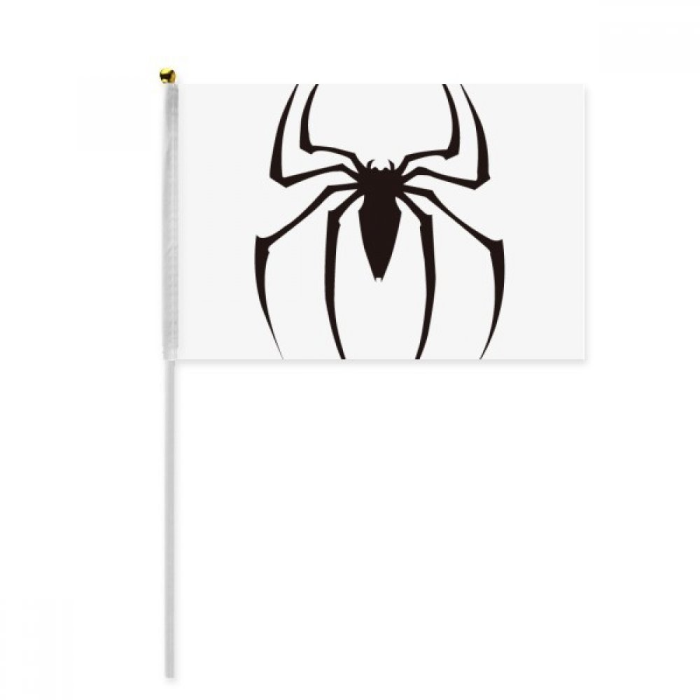 Black Insect Spider Illustration Pattern Hand Waving Flag 8x5 inch Polyester Sport Event Procession Parade 4pcs