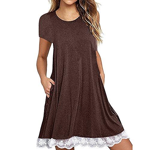 allentata maniche caffè lunghe spiaggia casual girocollo di a sopra Mymyguoe pizzo abito il vestidoe casual ginocchio donna C0Sqwpx6