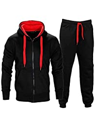 Mens Full Zip Up Contrast Cord Fleece Tracksuit Hoodie Jogging Joggers Gym Suit