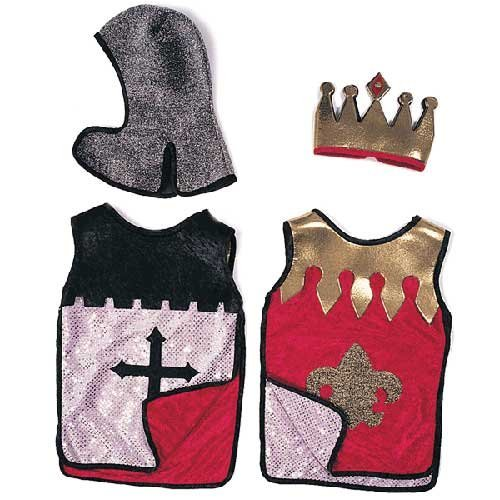 Knight Reversible Tunic Red And Silver Child Costume