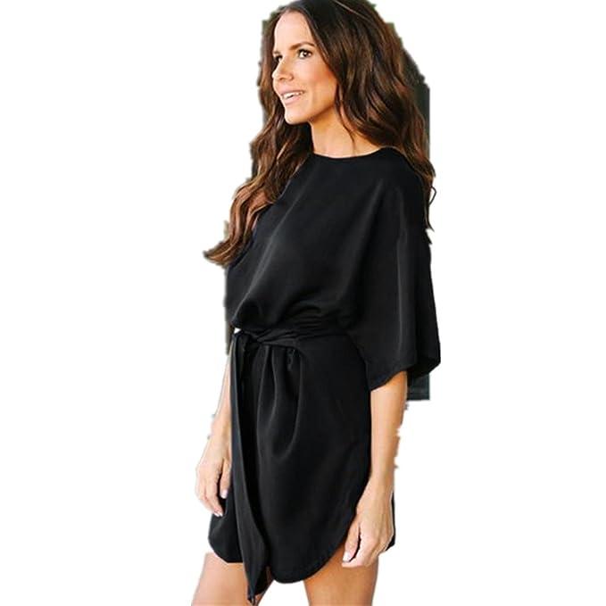 Kolylong® Kleid damen Frauen Elegant Kurzarm Kleid Mit Gürtel ...