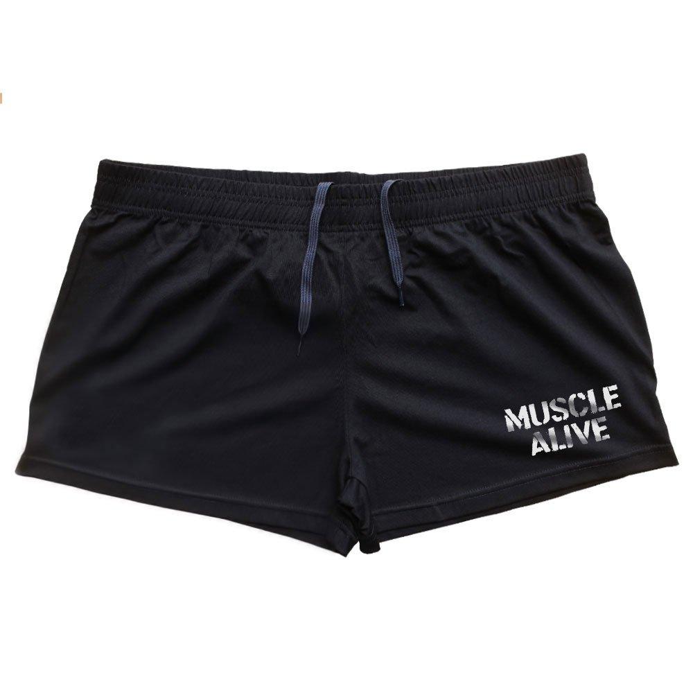 MUSCLE ALIVE Mens Bodybuilding Shorts 3'' Inseam Cotton Size M Black