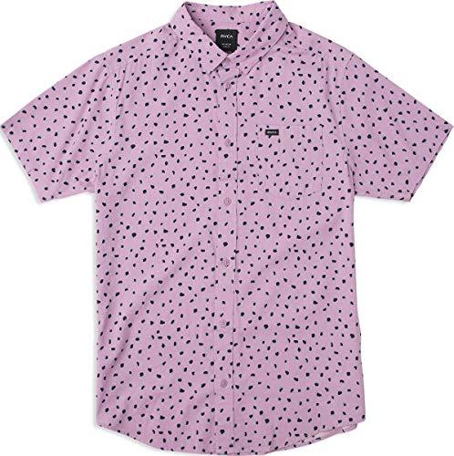 RVCA Men's Shake Along Short Sleeve Woven Button Front Shirt, Lavender M (Woven Sleeve Shirt)