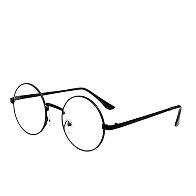 a3b99ffc97 VWH Unisex Glasses Frame Round Retro Metal Multicolor Clear Lens Glasses  (black)  Amazon.co.uk  Clothing