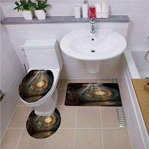 Bath mat Set Round-Shaped Toilet Mat Area Rug Toilet Lid Covers 3PCS,Fantasy House Decor,Fantasy Scene with Clock Dream Sky from The Ceiling Fiction Art Stars,Brown Teal,Bath mat Set Round-Shaped -