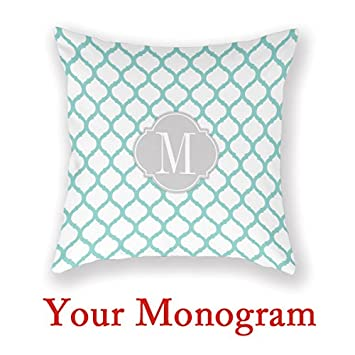 Amazon Personalized Decorative Pillows Aqua Blue White Extraordinary Make Your Own Decorative Pillows