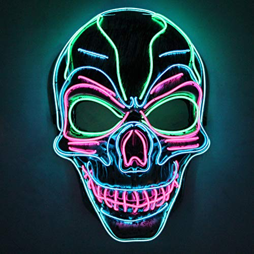 Halloween LED Purge Scary Mask Light Up LED Mask Cool Costume Accessories (Skull)