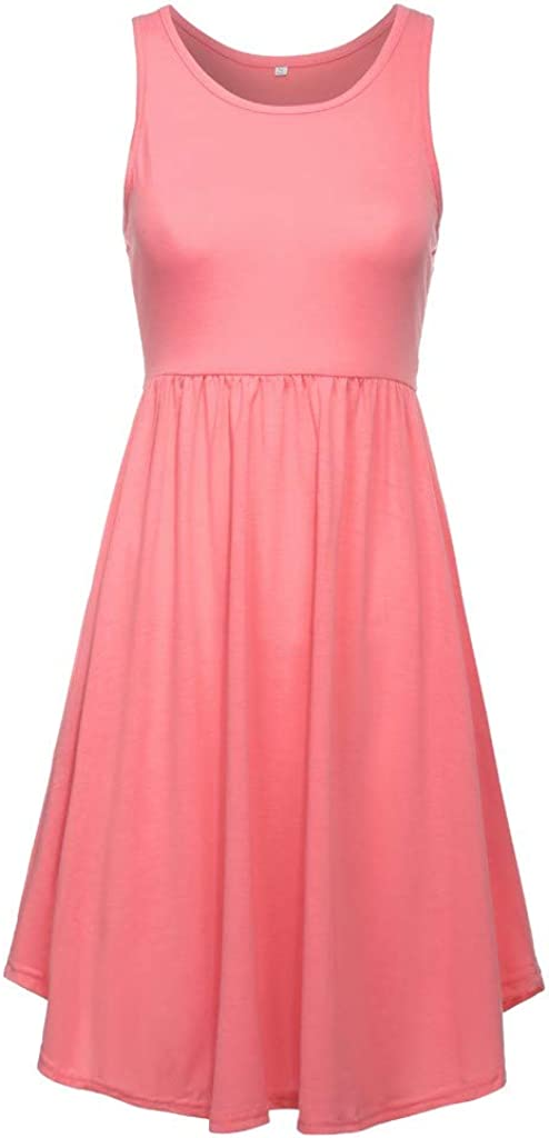 Womens Lrregular Dress Vest Top Dresses Sleeveless Loose Tank Swing Dress Comfort Sundress with Pockets
