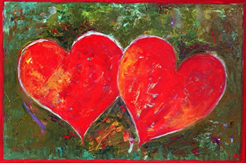 Heart Painting CANVAS Art Work for Wall Decor Decal Christmas Gift Original Oil 16x24 Red and Green Hand Painted Room Decoration Colorful Love by SmartPolonia