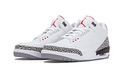 Air Jordan Retro 3 Blanc Ciment Gris Rouge-feu