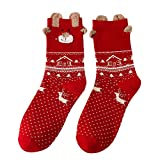 Sinwo Cute Christmas Deer Cotton Socks Multi-Color Women's Winter Crew Socks (A)