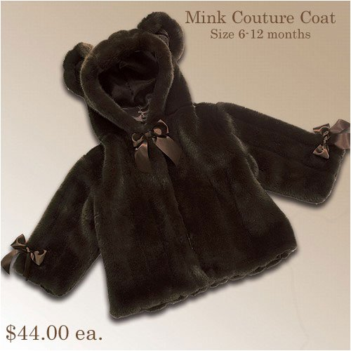 Bearington Collection - Mink Couture Hooded Baby Coat (6-12 months)