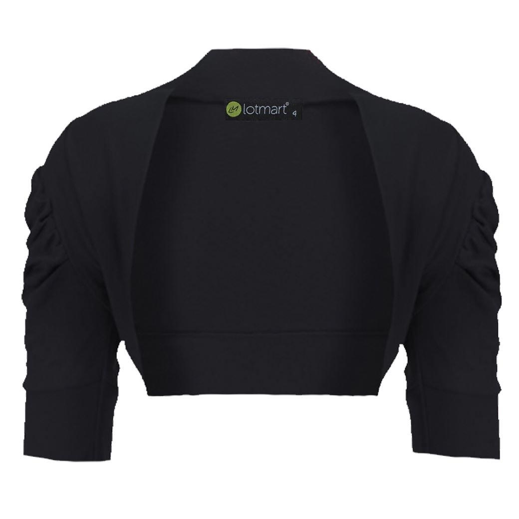 LotMart Girls Cropped Bolero Shrug Ruched Sleeve L-1623 in Black 9-10 Y