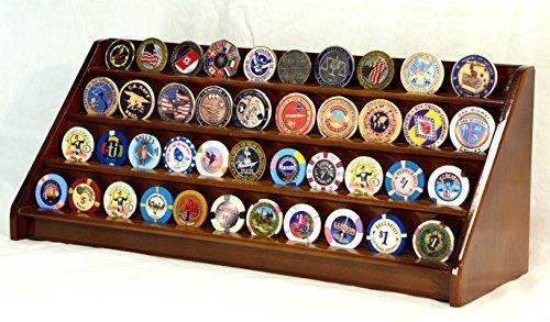 - 4 Rows Challenge Coin Casino Chip Display Rack Holder Stand -Walnut