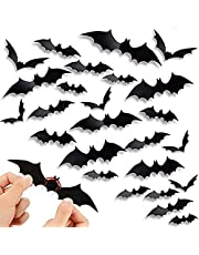 72 Pcs Bats Wall Decor, 3D Bat Halloween Decoration Stickers for Home Decor 4 Size Waterproof Black Spooky Bats for Room Decor Party Supplies