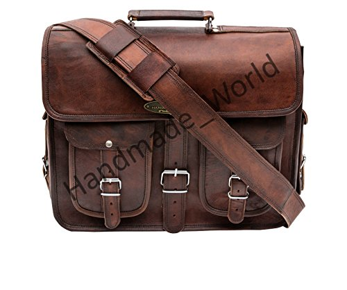 Handmade_world Leather Messenger Bag Brown 18 Inch Air Cabin Briefcase Leather Cross Body Shoulder Large Laptop School Bag by Handmade_world (Image #1)