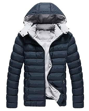 LemonGirl Men's Slim Thick Hooded Cotton Coat Down Jacket Outerwear