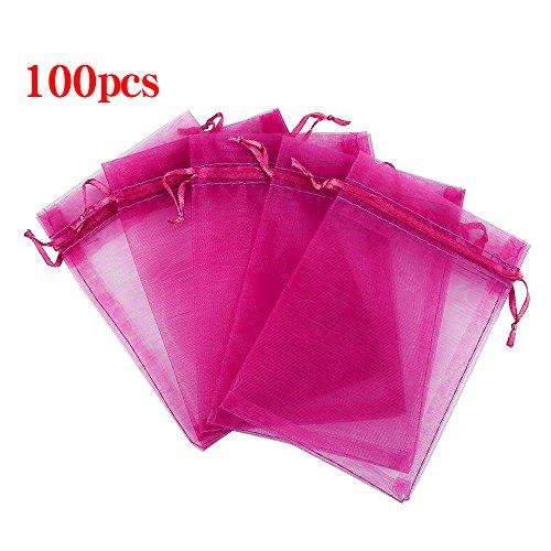 Boshen 100/200PCS Organza Gift Candy Sheer Bags Mesh Jewelry Pouches Drawstring Bulk for Wedding Party Favors Christmas 3''x4'' 5''x7'' (5'' X 7''(100PCS), Hot Pink) by Boshen