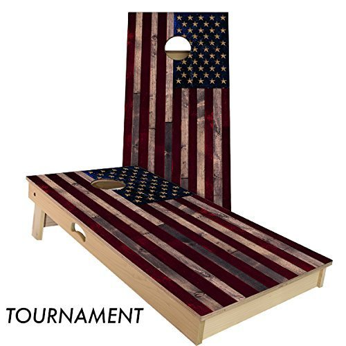Full Color Rustic Wood American Flag Cornhole Board Set by Slick Woody's Cornhole Co.