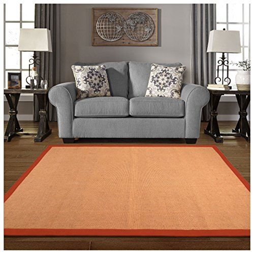 Superior 100% Jute Hand Woven Natural Fiber Area Rug, Classic 100% Cotton Twill Border, Rubber Non-slip Rug Backing - Rust, 5' x 8' Rug