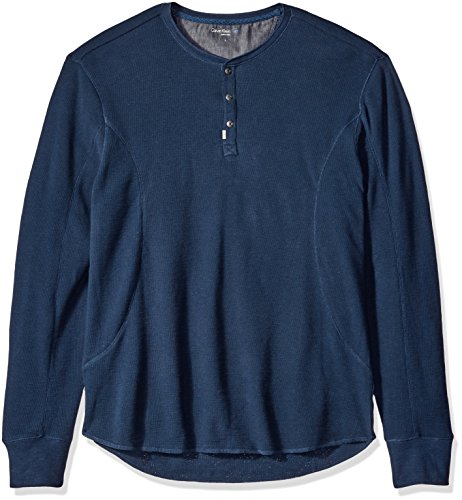 Calvin Klein Jeans Men's Mixed Media Slub Waffle Henley Long Sleeve Shirt, River, MEDIUM