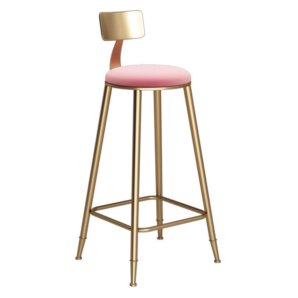 C nwn Barstool Chair Footrest with Sponge Cushion Backrest ,Dining Chairs for Kitchen Bar Stool Metal Legs Seat Height  78cm Max Load 150 kg (gold) (color   C)