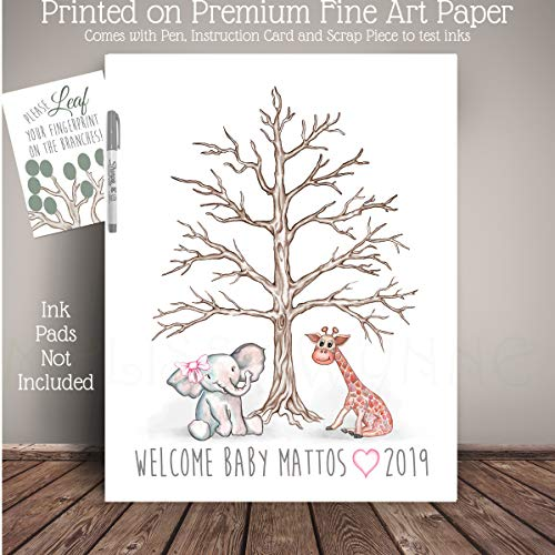 and Giraffe Guest Book Thumbprint Tree, Elephant Baby Shower, Fingerprint Tree, Art Print ()